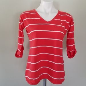 V Neck Coral Pink Striped Quarter Sleeve Small